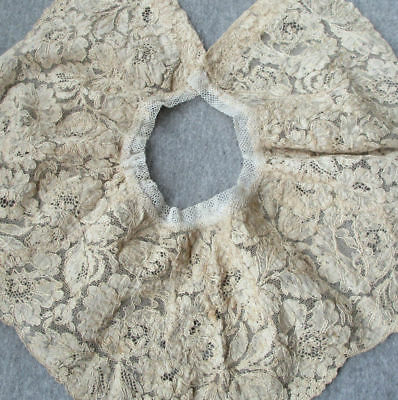 Antique c1900 Handmade FRENCH Alencon Lace Collar Warm Ecru Needlelace FLOWERS