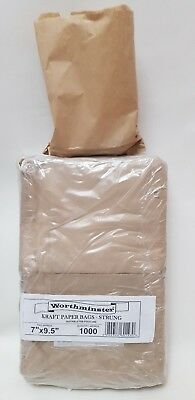 "Brown Kraft Flat Strung Paper Bags Food Safe Sandwich Grocery Market 7"" x 9"""