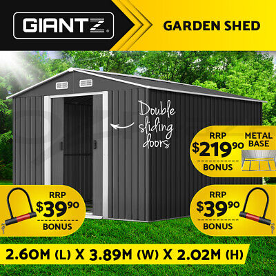 Cheap Shed 2.57x3.12M Storage Shed Garden Sheds Outdoor Workshop Steel w/Roof