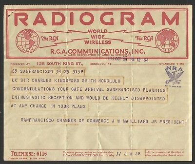 Kingsford-Smith Radiogram - 1st East-West Pacific Crossing 29/10/1934 - 12:54pm