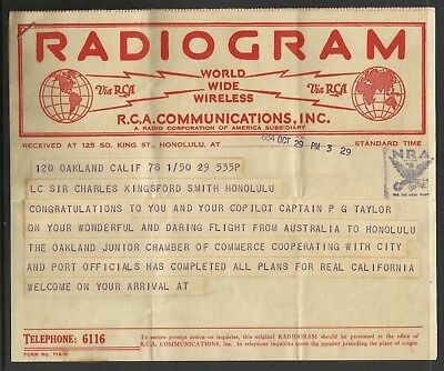 Kingsford-Smith Radiograms 1st East-West Pacific Crossing - 29/10/1934 - 3:29pm