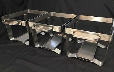 Set Of 3 Half Pan Catering Chafer Chafing Server Zebra 18-8 Stainless Steel