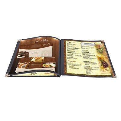 """30 Non-Toxic Menu Covers 8.5x11"""" Black Triple Fold Book Style Cafe 3 Page 6 View"""