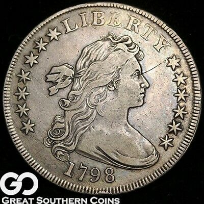 1798 Draped Bust Dollar, Highly Collectible XF+ Strike Definition Silver Dollar!