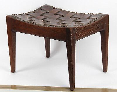 Arthur Simpson Of Kendal Arts and Crafts oak leather strap stool Lake District