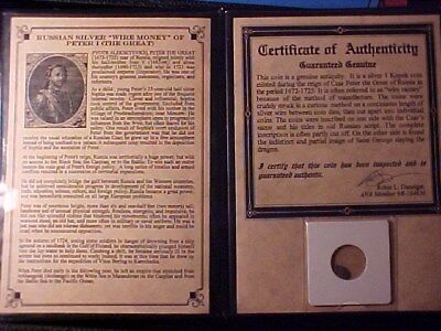 Russia Empire Peter The Great Silver Kopek Wire Money In Holder With Coa
