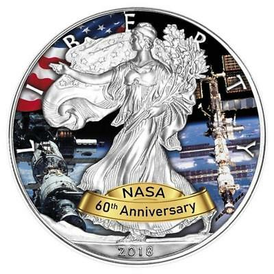 Argent 1 Oz de Couleur American Eagle 2018 USA 60 Jahre Nasa - Iss