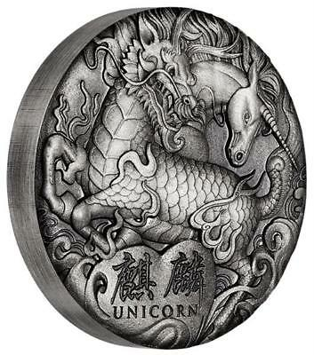 Tuvalu 2 Once Argent 2018 Licorne - Chinois Créatures Mythiques - 2 Dollar