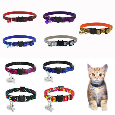 For Cat Kitten Safety Personalized Breakaway Cat Collar With Bell Neck Strap