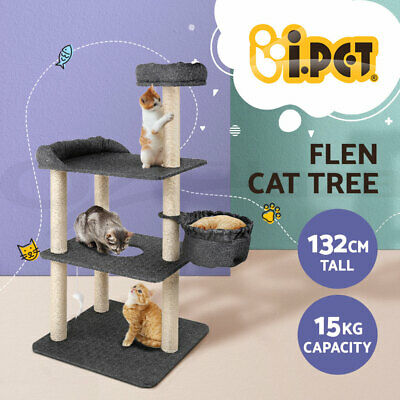 i.Pet Cat Scratching Tree Post Sisal Pole Condo Toy Furniture Multi level 132cm