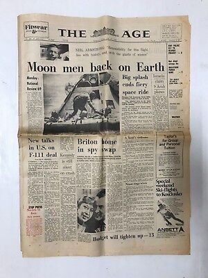 Newspaper The Age Moon Men Back On Earth, Whole Newspaper July 25Th 1969