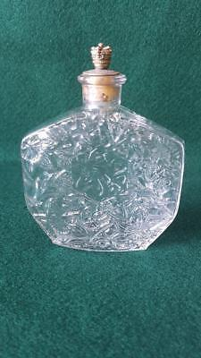 1930s Art Deco Clear Daffodil Pressed Glass Hexagonal Scent Bottle Crown Stopper