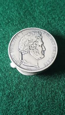 Antique Sterling Silver Pill Box Resembling Louis Phillip 1847 5 Fr Franc Coin