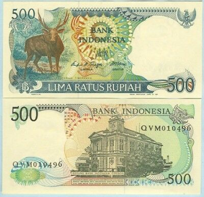 """Indonesia 1988 500 Rupiah Banknote """"Deer"""" harder to find UNC - #BN568 NTO25 05"""