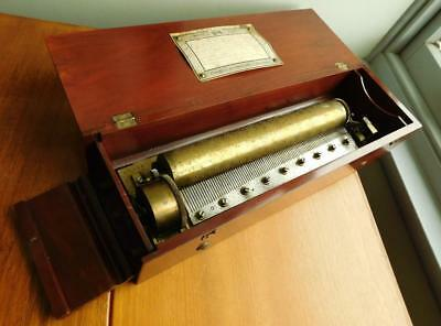Beautiful Antique Cylinder Drum Music Box HUIT AIRS in Mahogany Box 1880s