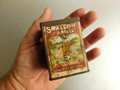 Rare Swallow & Ariell Melbourne Tiny Sample Size Biscuit Tin w' Paper Label c190