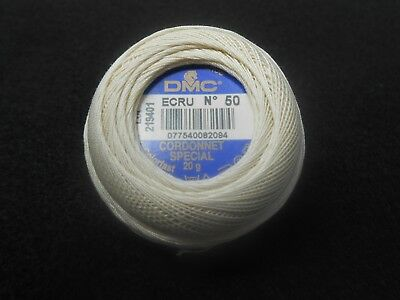DMC Cordonnet Special Crochet Thread Size 50 20g ball Ecru
