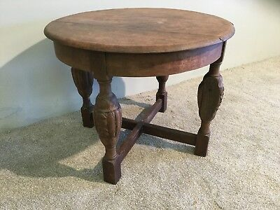 Vintage Solid Oak Chunky Round Hall Side Occasional Coffee Table