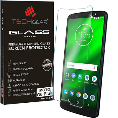 Genuine TECHGEAR TEMPERED GLASS Screen Protector Cover for Motorola Moto G6 Plus
