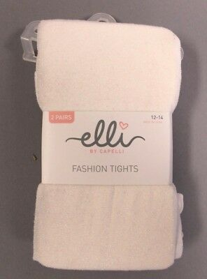 Elli By Capelli Girl' s 2 Pack Sparkle Fashion Tights HD3 White Size 12-14 NWT