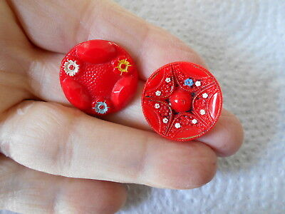 Antique/vintage Pretty Pair Of Painted Red Glass Buttons #331