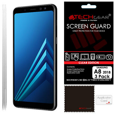 3 Pack TECHGEAR CLEAR Screen Protector Guards For Samsung Galaxy A8 2018 SM-A530