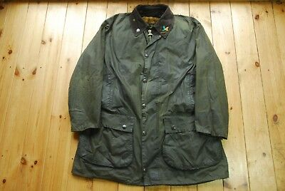 "Men's Green Barbour A200 Border Jacket Coat 44"" With Pile Lining & Pin Badge"