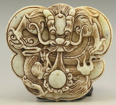 Chinese old natural jade hand-carved dragon pendant 3.2 inch