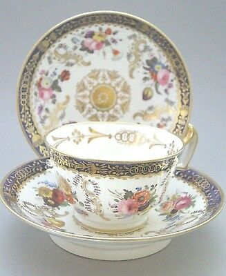 Antique Davenport Hand Painted Cup And Two Saucers - Pattern 609 - C. 1820