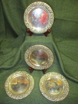 Set of Four Sterling Silver Bread & Butter Plates w/Repousse' Rims