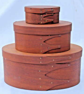 #2 3 Oval Antique Shaker Pantry Boxes With Finger Joints Great Condition. Nr.
