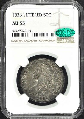 1836 LETTERED Capped Bust, Lettered Edge 50C NGC AU55 (CAC)