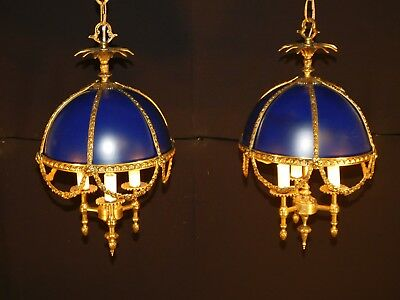 Pair Petite ANTIQUE French Imperial Blue Brass Bronze Bouillotte Chandeliers