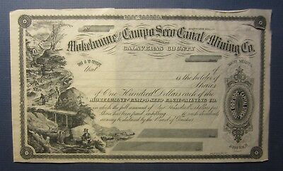 1880's MOKELUMNE & CAMPO SECO Canal & MINING - Stock Certificate - CALIFORNIA