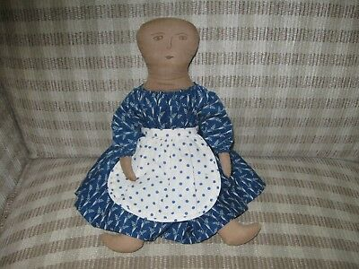 Prim Doll with Drawn Face and Apron - Signed