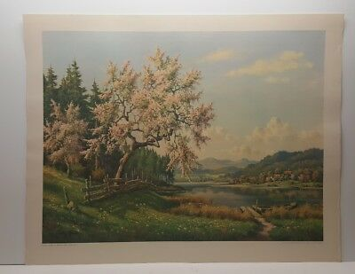 Vintage Lithograph Art Print Blossoming Trees Willy Hanft Landscape