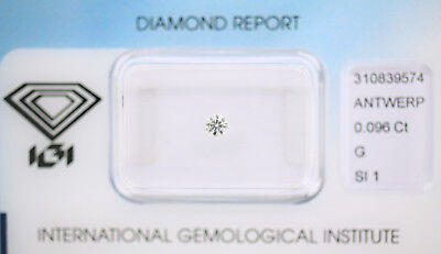 Diamant 0,096ct G SI1 IGI Zertifikat Sealed