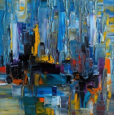 Bruno Cantais - Face To The City - Tableau Huile 40X40 Cm -