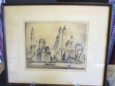 Signed Original Etching Manhattan Towers By Nat Lowell Estate Buy No Reserve