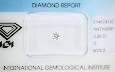 Diamant 0,20ct D VVS2 IGI Zertifikat Sealed