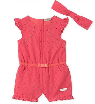 Calvin Klein Infant Girls Melon Romper & Headband Size 3/6M 6/9M 12M 18M 24M