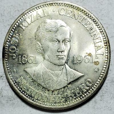 Philippines, Peso, 1961, Toned Uncirculated, Jose Rizal, .7523 Ounce Silver