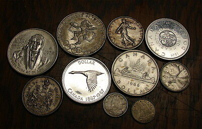 World Coins--All with Silver Content-----10 Coins with Silver Content--Nice Lot