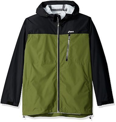 Asics NEW Green Loden Black Mens Rainwear Waterproof Breathable Jacket $85