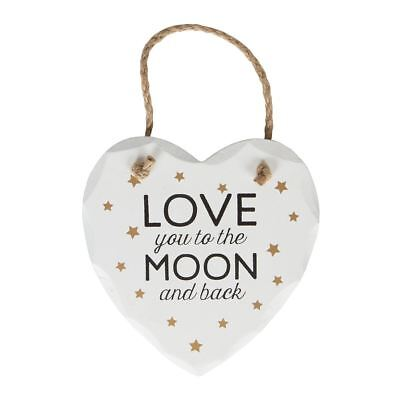 I Love You To The Moon And Back White Hanging Heart  Plaque With Gold Stars