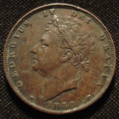1830 George Iv Farthing Clear Date Collectible Grade Coin
