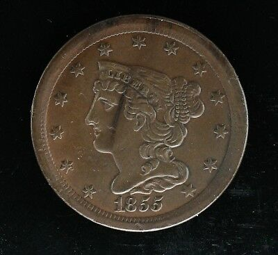 1855 Braided Hair Half Cent 1/2C Au - Details About Uncirculated (5052)