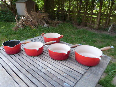 Great Set Of Five Vintage Cast Iron Enamel Le Creuset Saucepans/casserole Dish.