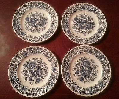 "4 x Ridgway Ironstone ""CLIFTON""  Blue & White Floral 6.25"" SIDE Plates"