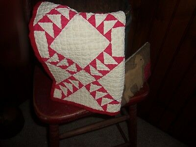 antique/early doll quilt red and white